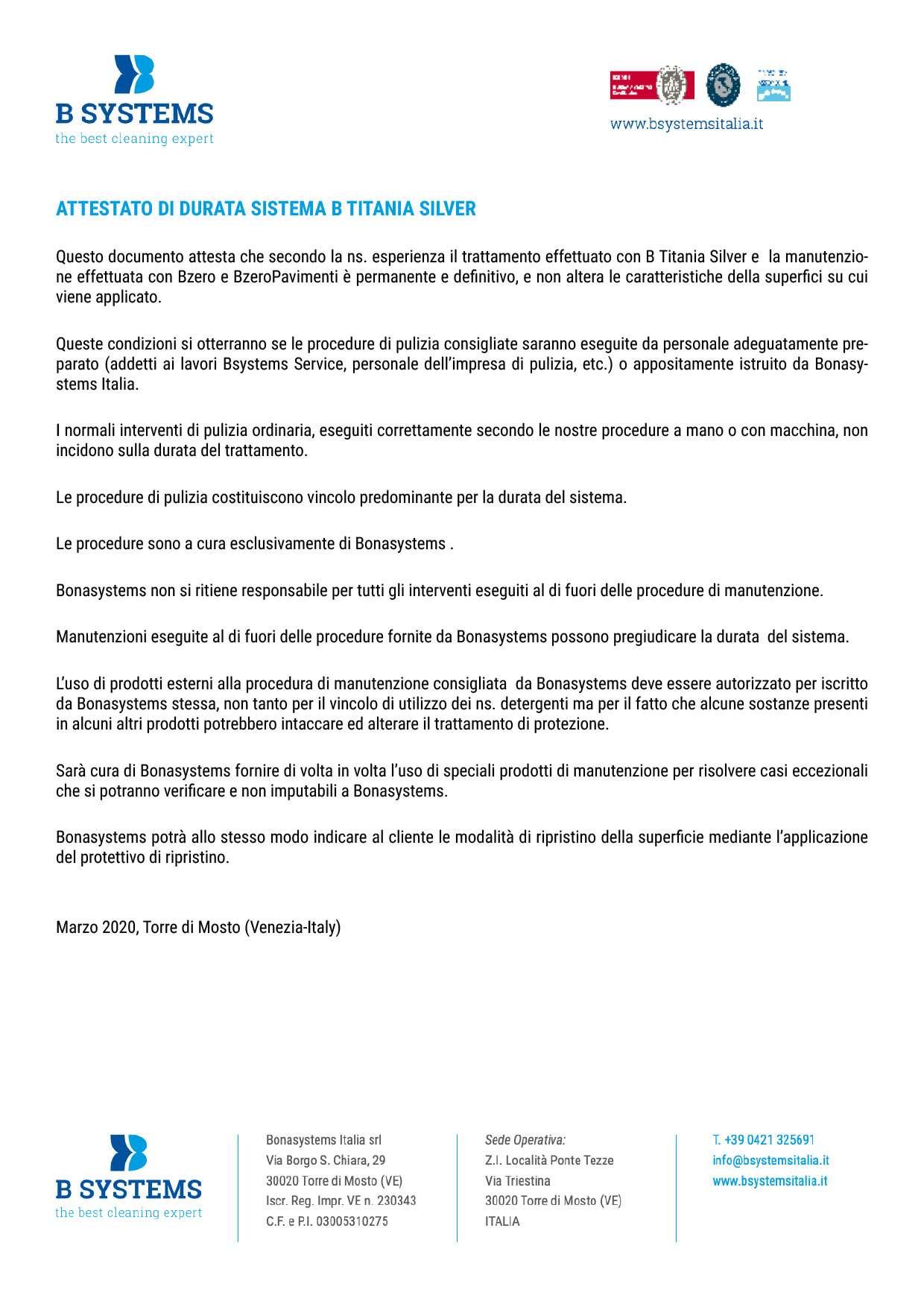 ATTESTAZIONE DI DURATA DEL SISTEMA B TITANIA SILVER LINE