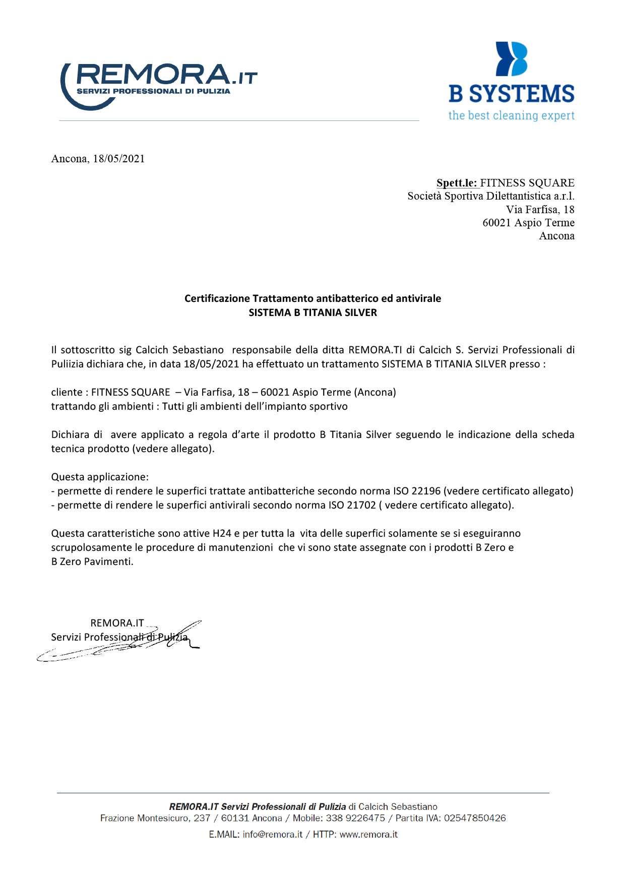 Microsoft Word – certificato B TITANIA SILVER Fitness Square.doc